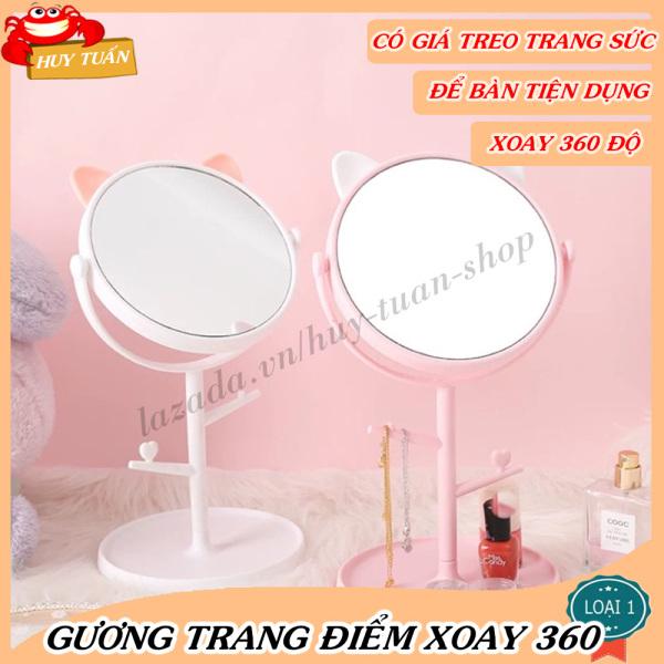 Gương trang điểm để bàn tai mèo dễ thương xoay 360 độ có giá treo đồ trang sức Huy Tuấn