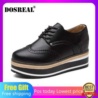 Dosreal Giày Oxford Nữ Da Lộn Nền Tảng Giày Phong Cách Anh Quốc Nữ Brogue Giày Phối Ren Nữ Giày Nữ Size Lớn