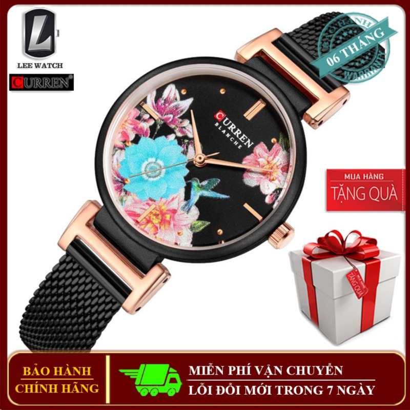 Nơi bán Đồng hồ đeo tay nữ Curren 9053 dây Titanium chống ghỉ, họa tiết mặt được thiết kế tinh xảo các loài hoa và bướm tặng vòng tay chiếc lá kèm hộp đựng Lee Watch