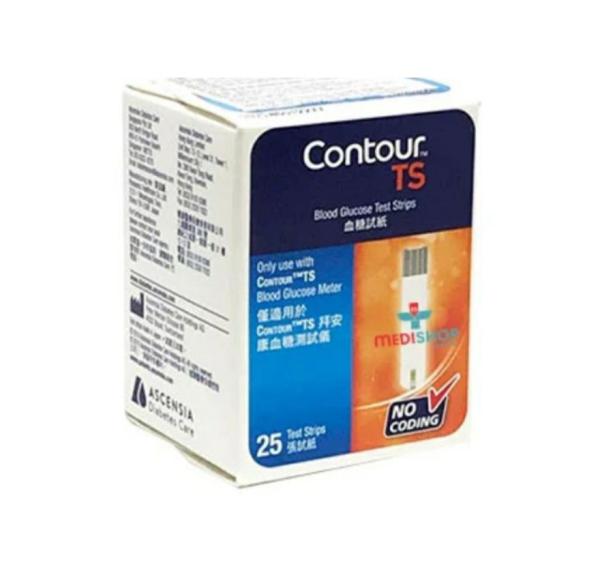 Nơi bán 💖 Hộp 25 Que thử đường huyết, Test thử tiểu đường CONTOUR TS/Bayer-Đức - MẪU MỚI 2020