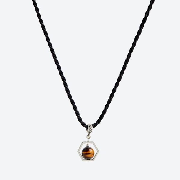 Mặt dây chuyền đá mắt hổ vàng nâu viền bạc mệnh thổ, kim (màu vàng nâu) - Ngọc Quý Gemstones