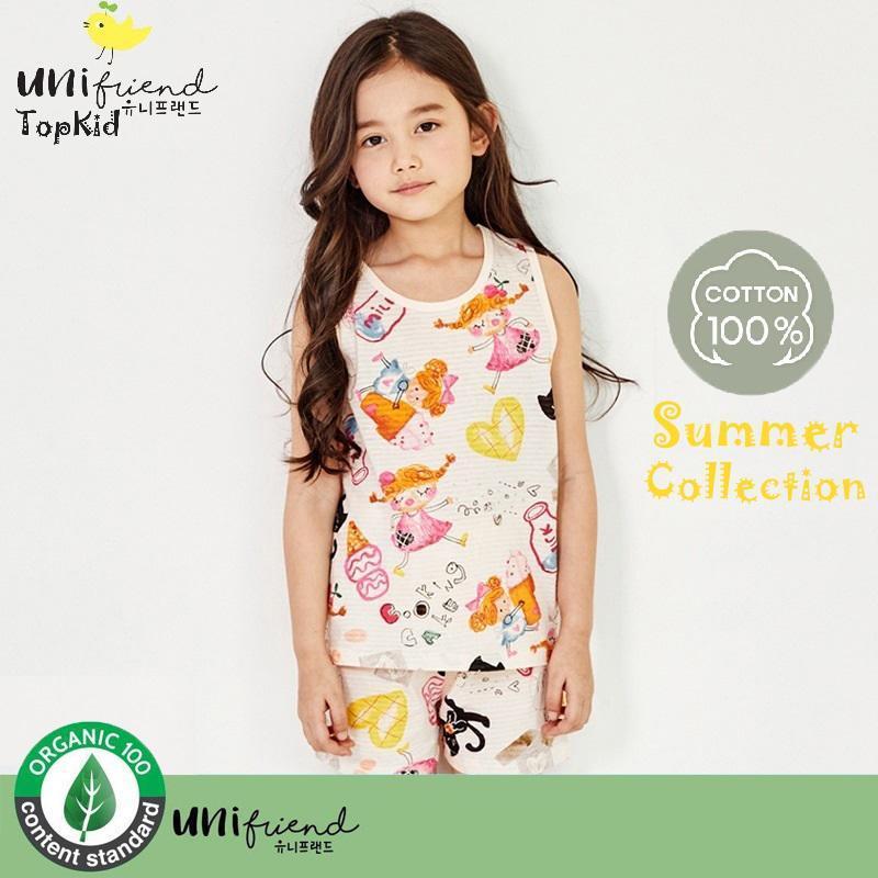 Nơi bán Bộ đồ bé gái công chúa làm kem thương hiệu Unifriend Hàn Quốc 2020, hàng chính hãng , 100% sợi Organic Cotton , mềm mại, thoáng mát, TOPKID