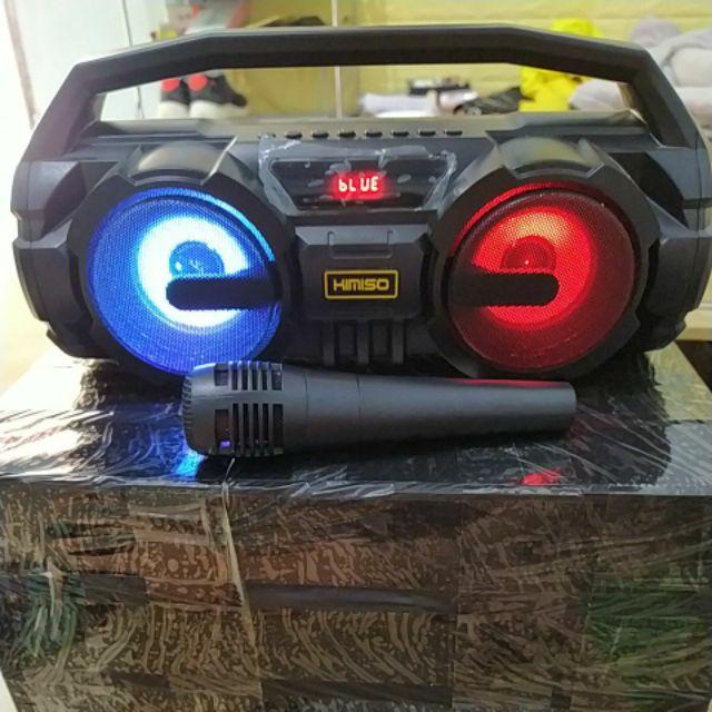 [TẶNG KÈM MICRO HÁT KARAOKE ] Loa Bluetooth Karaoke mini Xách Tay KIMISO KM-S1 Hát Có Dây Cắm Trực Tiếp, Âm Bass Cực Hay, Đèn Led Sống Động