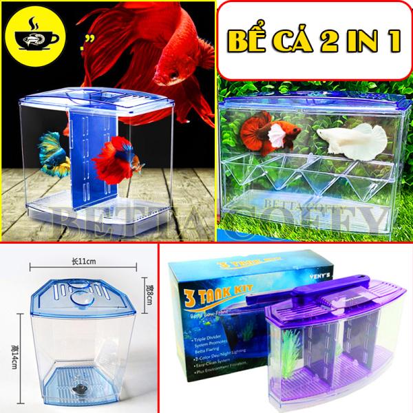 Bể Cá Mini 1 2 3 Ngăn - Hồ Nuôi Cá Cảnh nhỏ gọn bằng Nhựa Mica