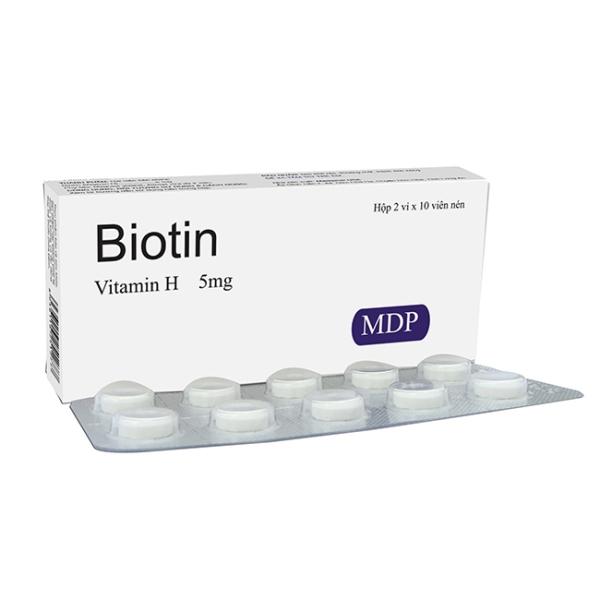 BIOTIN 5MG VITAMIN H - NGĂN NGỪA RỤNG TÓC, VIÊM DA DO TIẾT BÃ NHỜN HỘP 20 VIÊN giá rẻ