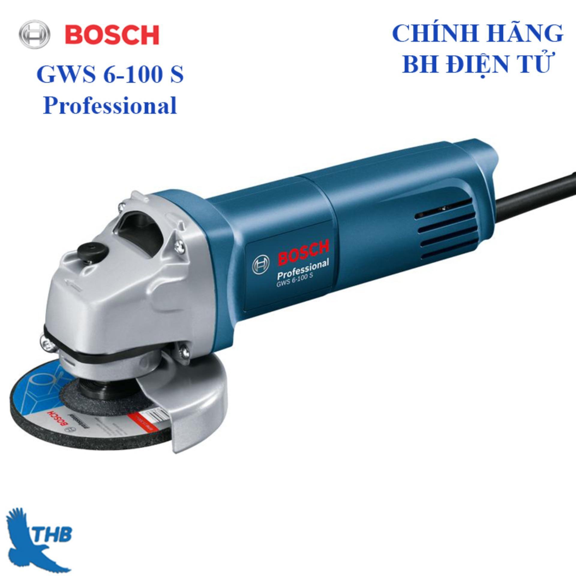 Máy mài góc nhỏ, Máy mài cầm tay, Máy mài điện cầm tay, Máy mài công tắc đuôi, Máy cắt sắt cầm tay Bosch chính hãng GWS 6-100 S ( Công tắc đuôi, bảo hành điện tưu 6 tháng, công suất 600W)