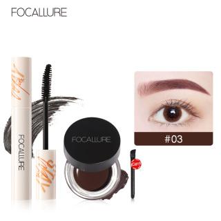 FOCALLURE 2Pcs Pro Eye Makeup Set Mỹ phẩm với Mascara và Gel Eyebrow Cream Tools thumbnail