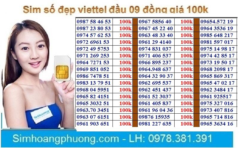 Sim Viettel Số đẹp đồng Giá 100k Đang Có Giảm Giá