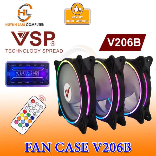 Giá Bộ 3 Fan VSP V206B Led RGB kèm hub và remote Cho Case kính cường lực VSP Phân phối