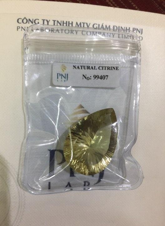 Viên đá Citrine thiên nhiên màu vàng PNJ 99407