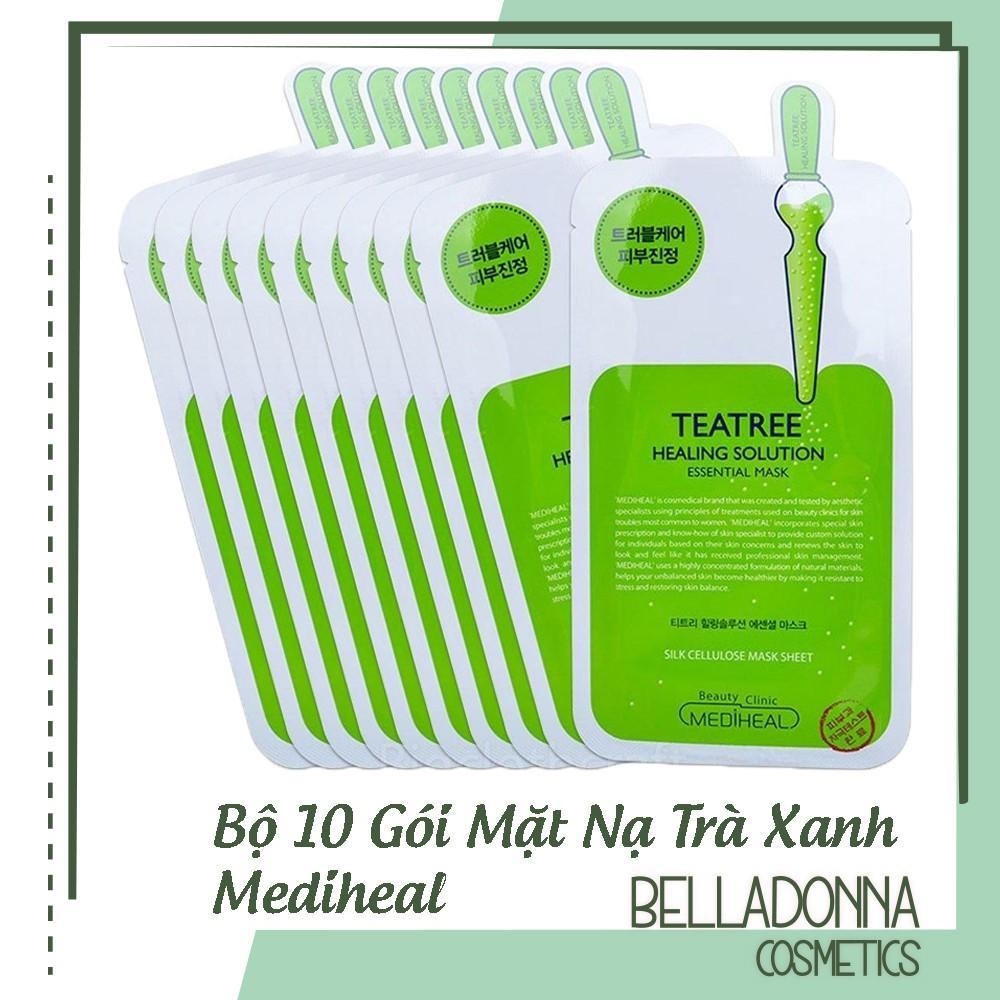 Bộ 10 Gói Mặt Nạ Dưỡng Da Trị Mụn Chiết Xuất Trà Xanh Mediheal Teatree Healing solution Essential Mask 25ml x10 nhập khẩu