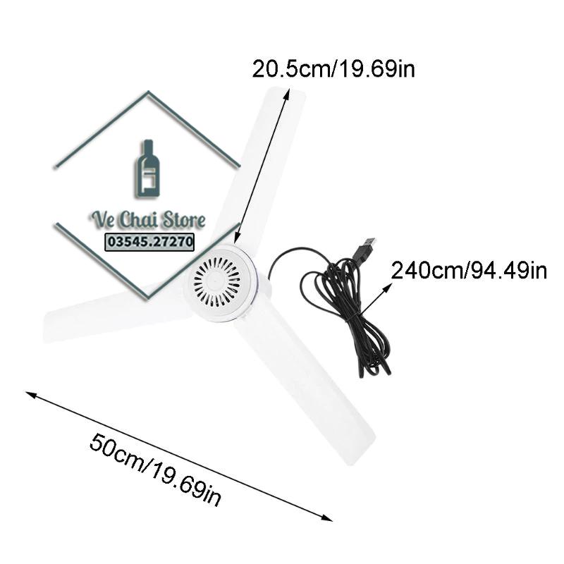 [Loại lớn 50cm] Quạt trần cổng USB nguồn pin dự phòng siêu tiết kiệm