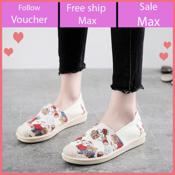 Giầy lười nữ vải đẹp đi bộ êm chân, giầy slip on vải đế mềm, giầy vintage họa tiết đẹp V276 giá rẻ