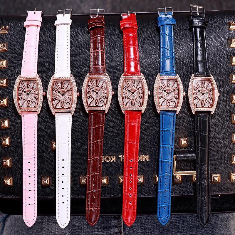 Nơi bán Đồng hồ thời trang nữ DZG dây da mặt đính đá siêu đẹp