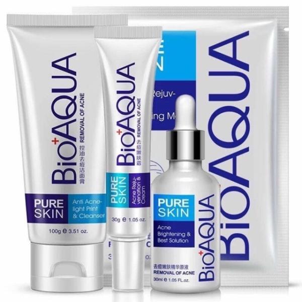 Combo 4 Món  Mụn Bioaqua bộ ngừa mụn pure skin  Sữa Rửa Mặt + 2 Mask+ Serum+ Kem  Mụn ( Sản Phẩm Đăng Lại ) giá rẻ