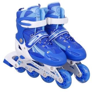 Giày Trượt Patin Trẻ Em Có Đèn Sáng Tạo, Giày Patin Trẻ Em Khung Hợp Kim Vỏ Nhựa Chắc Chắn Chịu Lực Chống Va Đập Chống Chẹo Chân Tặng Kèm Mũ Và Bộ Đồ Bảo Hộ thumbnail