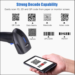 Máy quét mã vạch Qrcode YHD 1100DB 2D, Đầu đọc mã vạch Barcode(1D) Qrcode(2D) dùng trên Điện thoại, Máy bắn mã vạch không dây kết nối Bluetooth USB Có dây dùng trên Điện thoại, Máy tính thumbnail