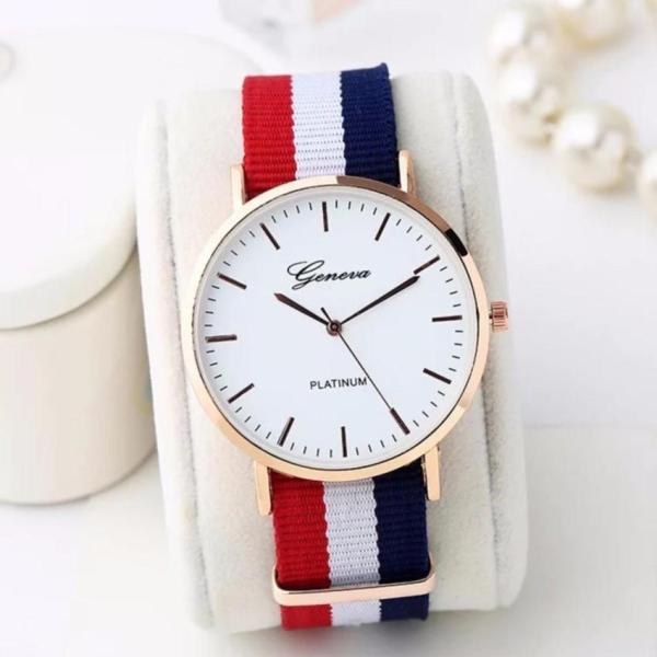 Đồng hồ dây vải 3 sọc trắng-xanh-đỏ ( tam sọc)
