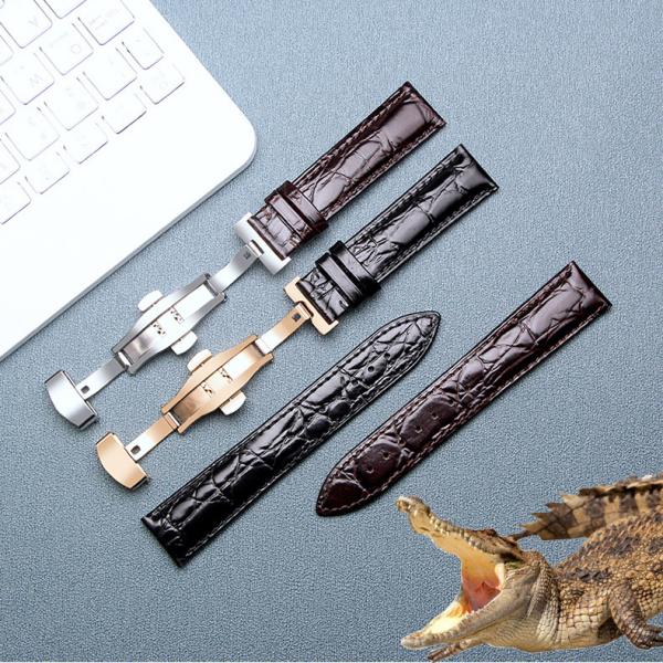 [DA XỊN] Dây da đồng hồ da cá sấu cao cấp 2 mặt vân cá sấu kèm khóa bướm thép không gỉ 316L (Chọn màu)