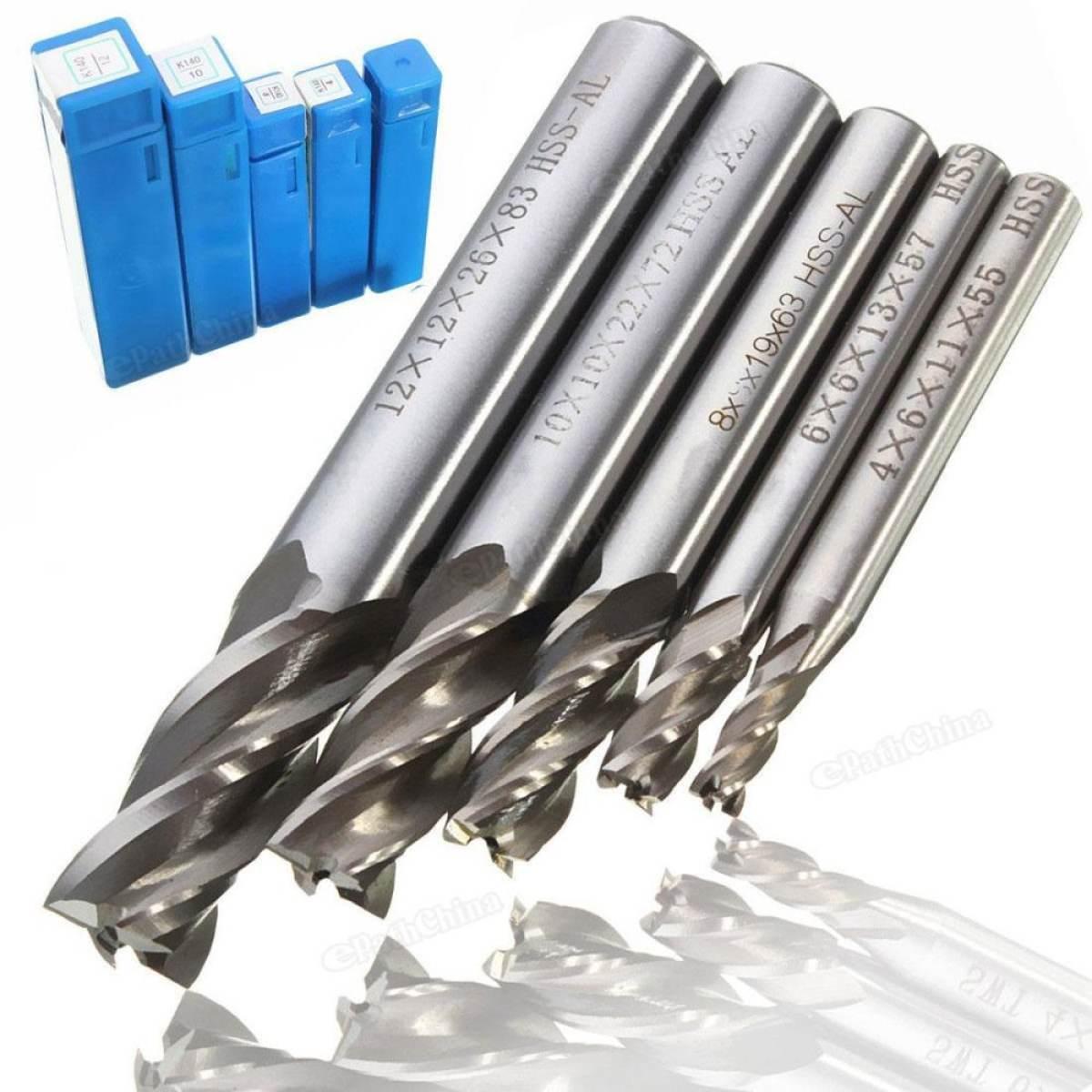 Bộ 5 dao cắt nhôm Alu CNC 4,6,8,10,12 mm 4 lưỡi