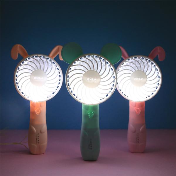 Quạt Mini - Quạt Mini 1 Chế Độ - Quạt cầm tay sạc pin usb hình tai thỏ có đèn , hình hello kitty siêu mát có đèn (MÀU NGẪU NHIÊN)