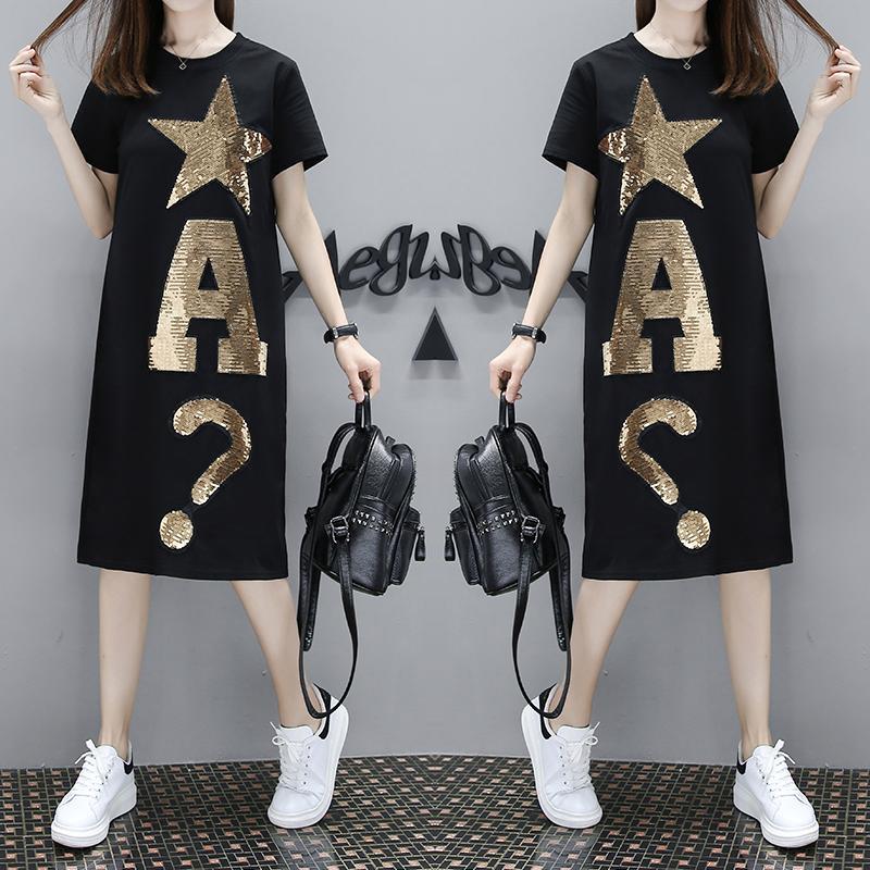 T-shirt lengan Pendek O-neck Ukuran Besar Wanita Gaya korea