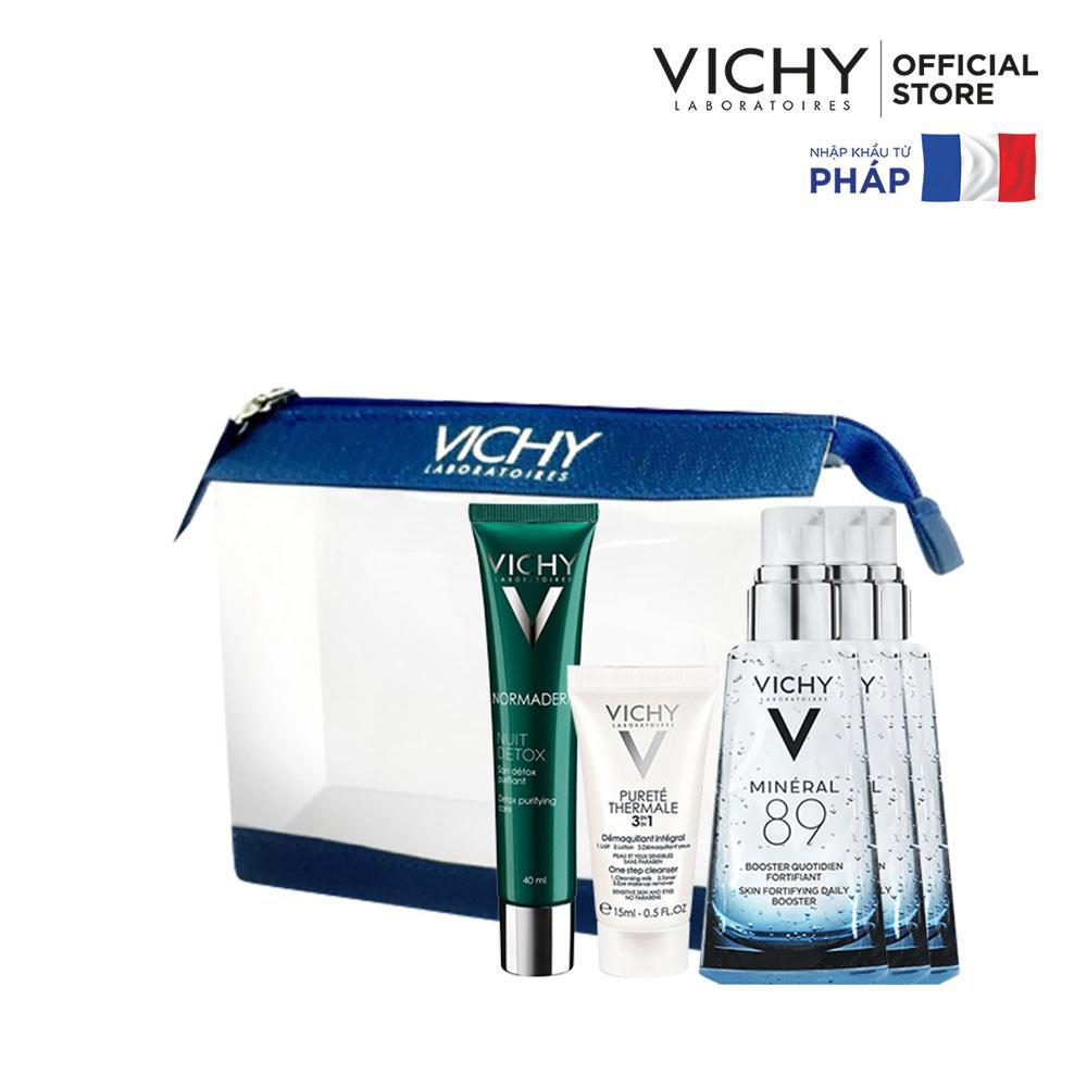 Bộ Gel giảm dầu và giúp se khít lỗ chân lông ban đêm Vichy Normaderm Night Detox tốt nhất