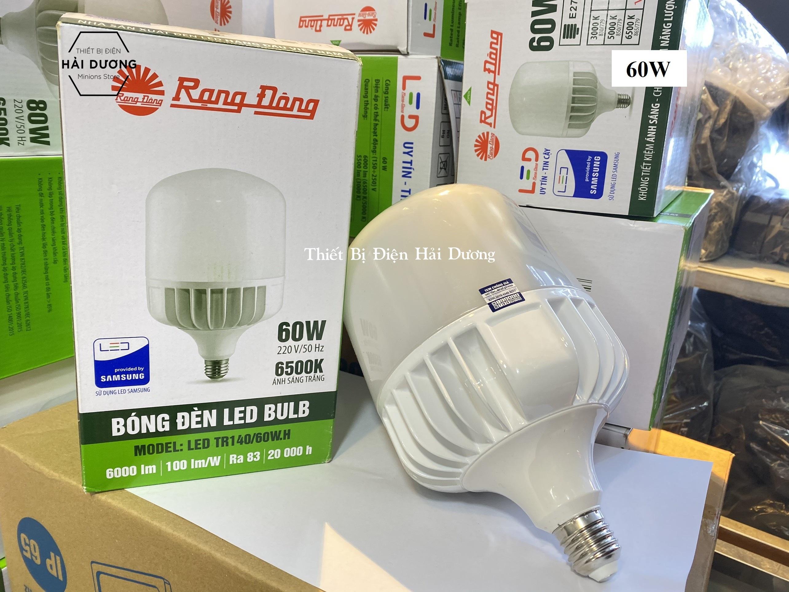 Bóng đèn LED BULB Trụ 60W - 80W Rạng Đông - Sử dụng Chip LED Samsung - Bảo  hành 24 tháng