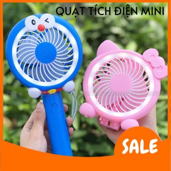 💥PIN TRÂU💥Quạt cầm tay tích điện Mini Doremon sạc pin để bàn có đèn LED, 3 Tốc độ gió siêu mát, dễ thương
