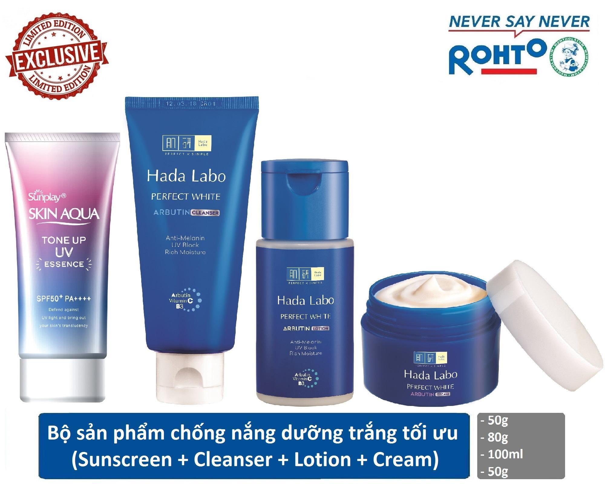 Bộ sản phẩm chống nắng dưỡng trắng tối ưu Sunplay - Hada Labo (Chống nắng + Kem rửa mặt + Dung dịch dưỡng + Kem dưỡng) nhập khẩu