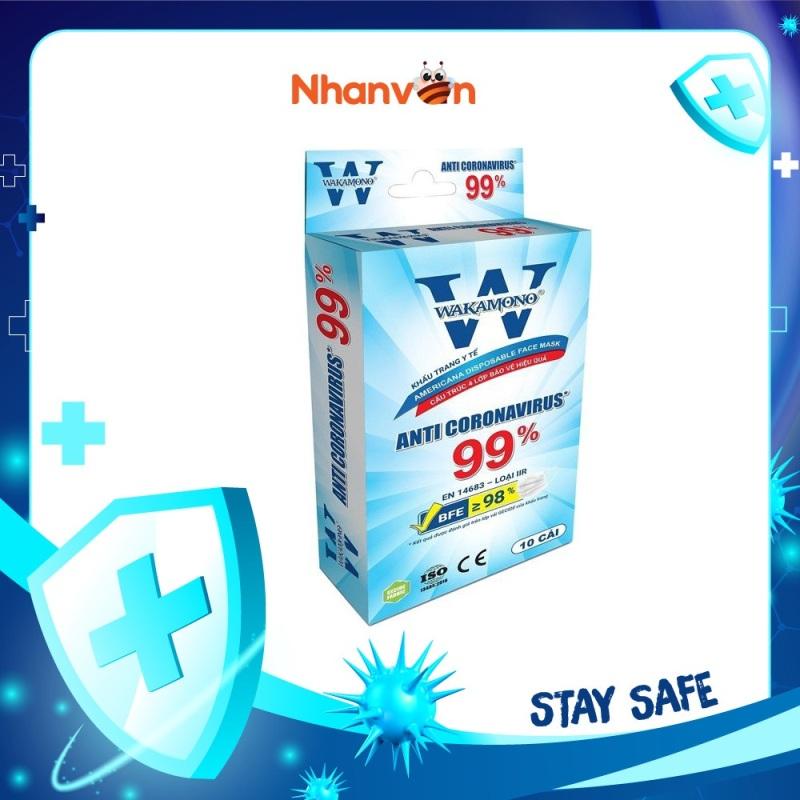 Khẩu Trang Y Tế 4 Lớp WAKAMONO Diệt Virus Corona 99% - 10 Cái/Hộp cao cấp
