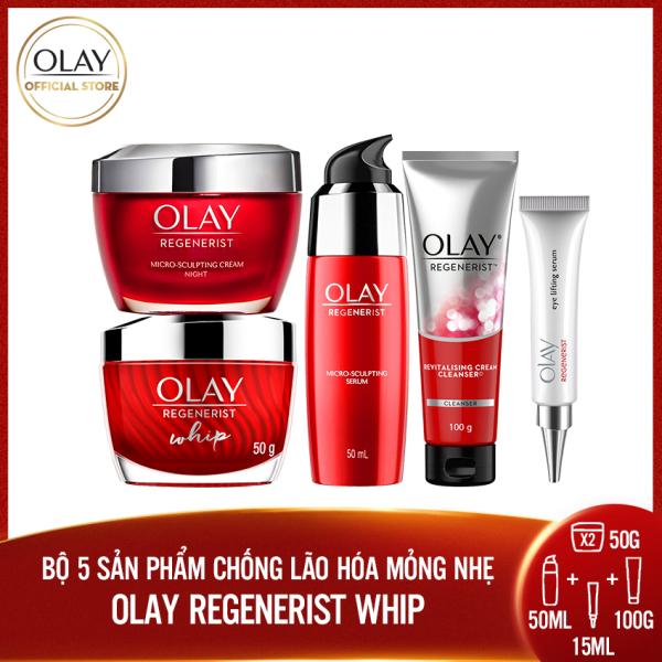Trọn bộ 5 sản phẩm chống lão hóa mỏng nhẹ Olay Regenerist Whip