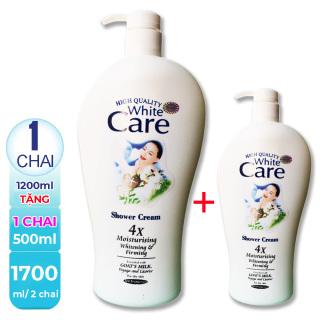 [ Combo 2 chai ] 1700ml Sữa Tắm Dê White Care Cao Cấp Malaysia (Chai lớn 1200ml + chai nhỏ 500ml ), HSD đến tháng 10-2023 thumbnail
