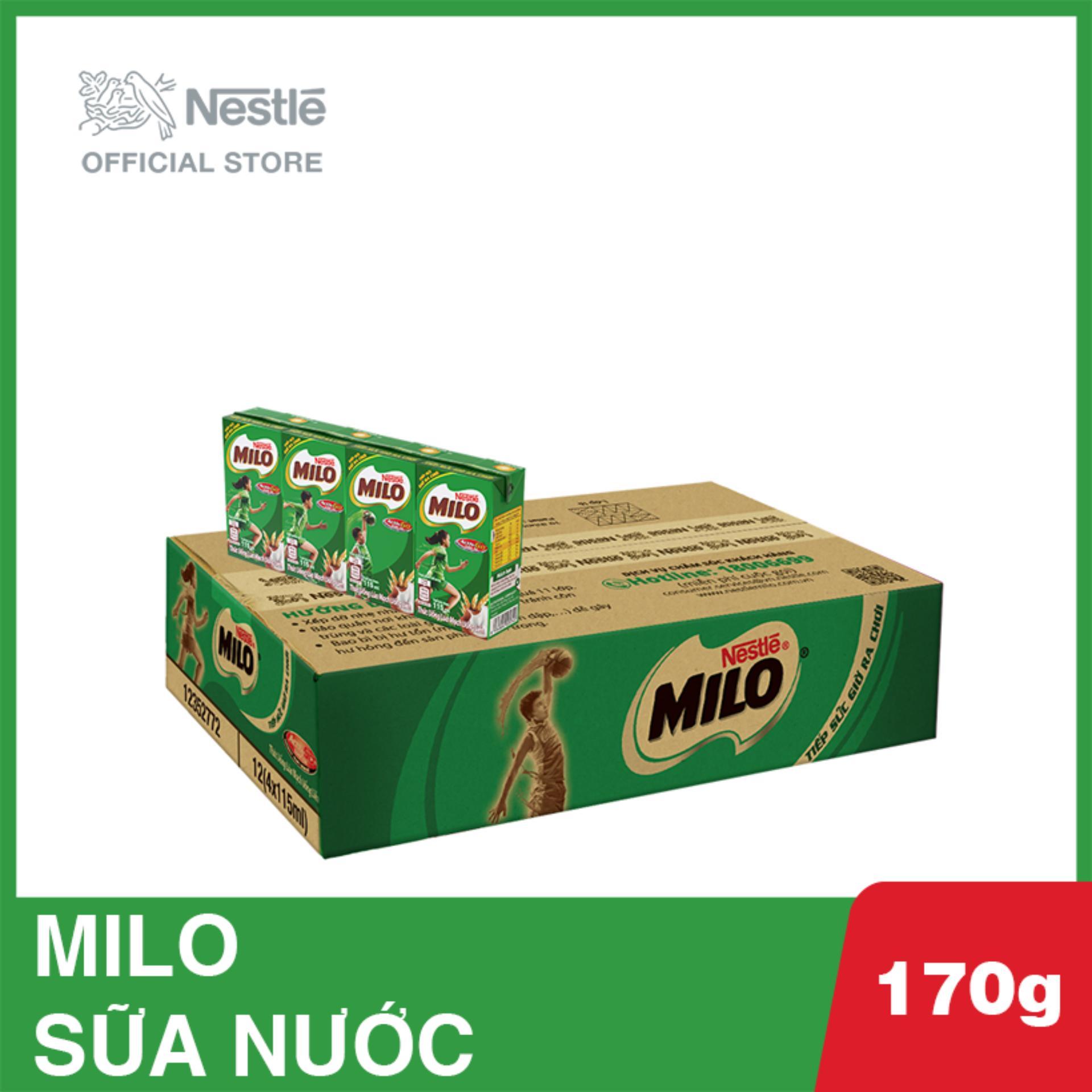 Thùng 48 Hộp Thức Uống Lúa Mạch Uống Liền Nestlé MILO 115ml - 12 Lốc X 4 Hộp X 115ml Bất Ngờ Ưu Đãi Giá