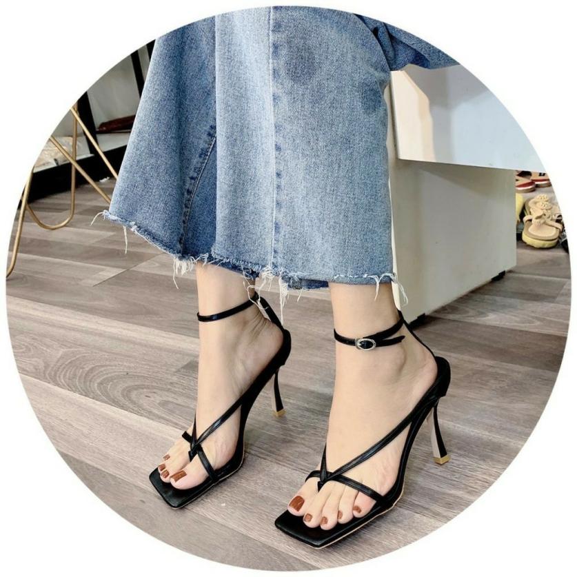 Giày Sandal cao gót 7p xỏ ngón chữ V cá tính siêu hot giá rẻ