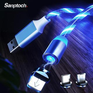 Cáp USB Sạc Từ Tính 1M Phát Sáng Đèn LED Bộ Sạc Nam Châm Điện Thoại Di Động Cho iPhone Samsung Huawei Xiaomi Dây Cáp Micro USB Loại C Sạc Nhanh thumbnail