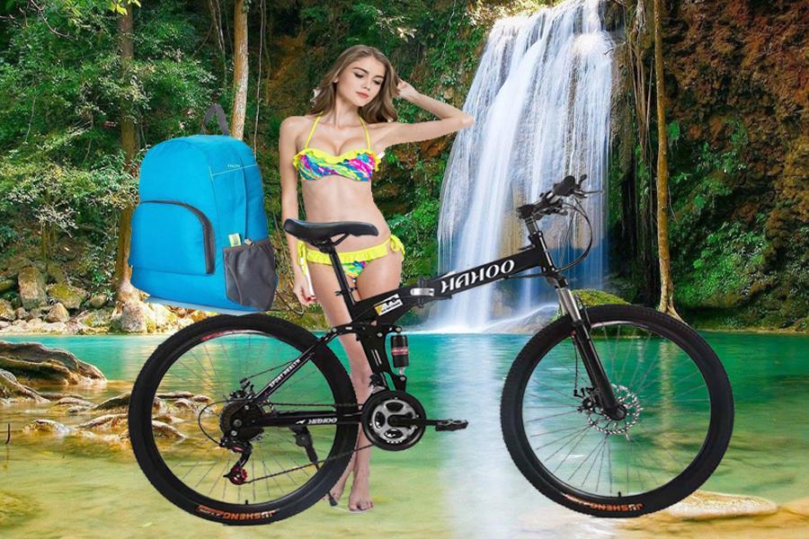 Mua Xe đạp thể thao địa hình HaHoo (Bánh căm) [Tặng kèm Balo thời trang gấp gọn chống thấm nước]