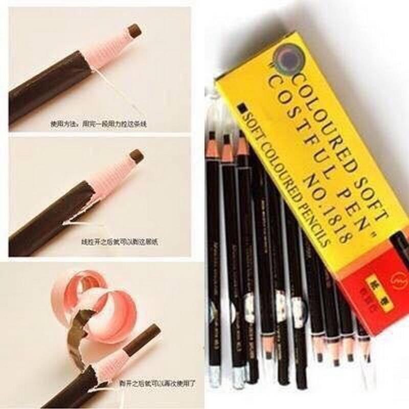 Hộp 12 cây Chì xé kẻ mày Coloured Soft Cosmetic Art No.1818 Chì Bóc nội địa Trung  NCC SHOPTIDO nhập khẩu