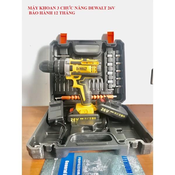 Máy Khoan Pin Dewalt 26V loại 1 - Máy khoan 3 chức năng tặng kèm 24 Phụ Kiện