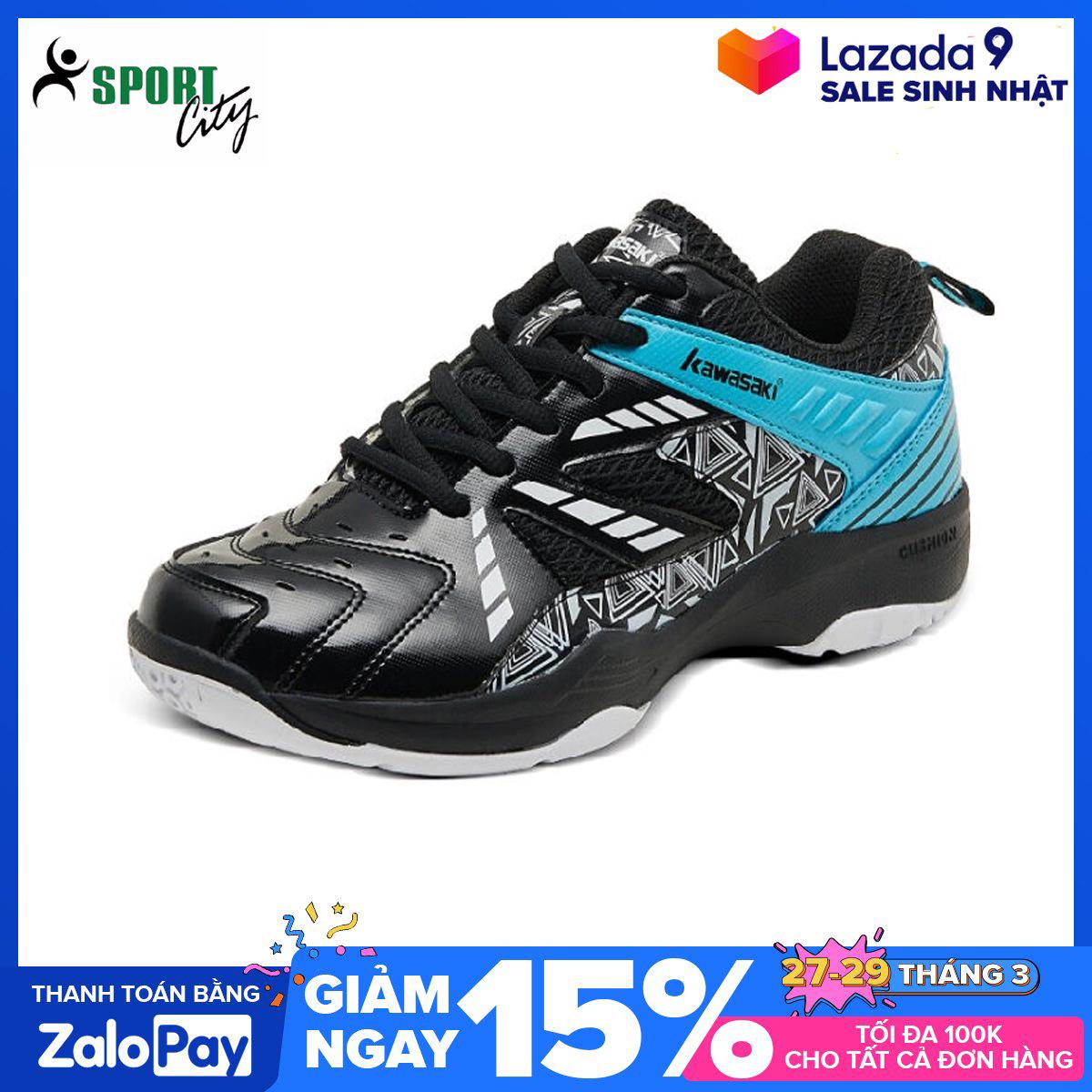 Giày cầu lông nam nữ Kawasaki K080 mẫu mới, hàng có sẵn, chống mài mòn, chơi được sân bê tông màu đen đủ size - giày chơi bóng chuyền nam nữ - giầy thể thao nam nữ - shop sportcity