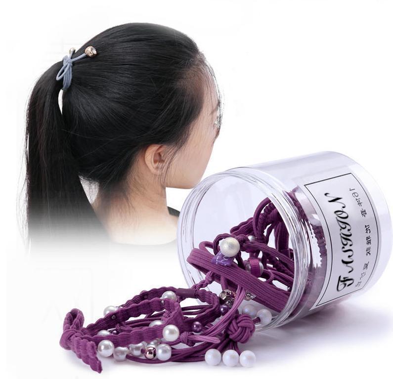 Giá bán Set 12 dây chun buộc tóc Hàn Quốc, kèm hộp cao cấp, kute dễ thương, đủ màu xanh, hồng, đen