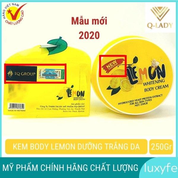 Kem body lemon chanh chính hãng luxyfe dưỡng trắng da cấp tốc toàn thân hiệu quả sau mỗi lần dùng  (250g)