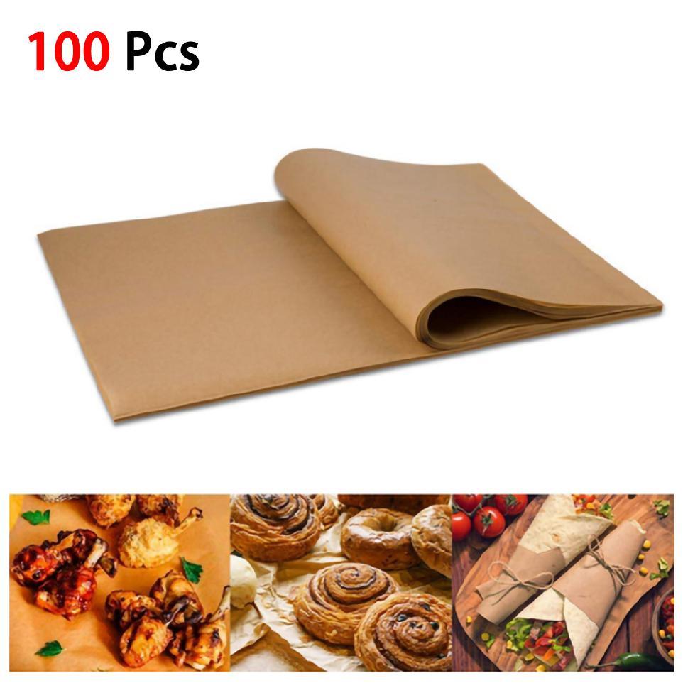 100 Cái Baking Silicone Oil Non stick Steamer Pot Pad Giấy da Hình chữ nhật Bánh Pan Liners Baking Paper Cake Pans (30 x 40CM) 【COD】
