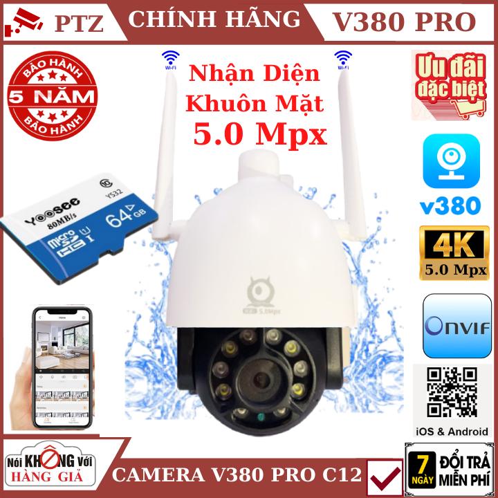 (Tùy Chọn Kèm thẻ nhớ 128GB - bảo hành 5 năm), Camera wifi ptz ngoài trời V380 Pro C12 5.0 Mpx , xoay 360 độ , chống nước tuyệt đối , cảnh báo chuyển động , camera ip ,camera ngoài trời , camera ptz, camera an ninh , camera 360