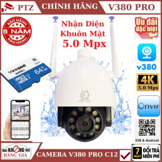 (Thẻ nhớ 64GB), Camera wifi ptz ngoài trời V380 Pro C12 5.0 Mpx , xoay 360 độ , chống nước tuyệt đối , theo dõi chuyển động , camera ip ,camera ngoài trời , camera wifi , camera ptz, camera an ninh , camera chống nước , camera 360 thumbnail