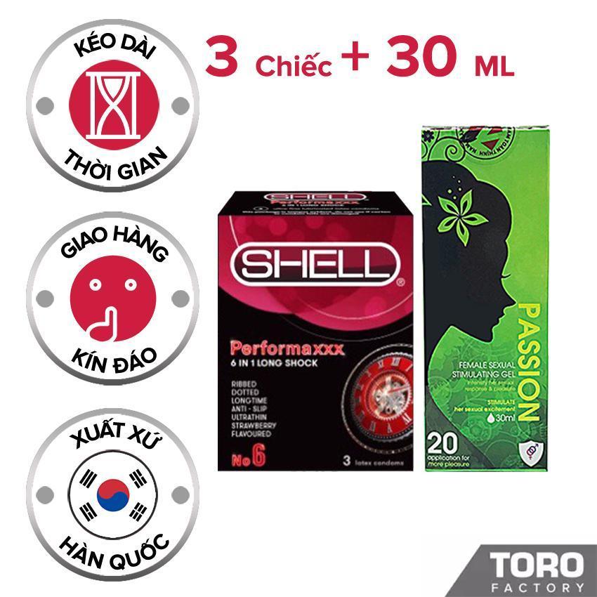 Gel Bôi TrơnĐức PASSION - Gel Tăng Khoái Cảm Nữ, gốc nước dịu nhẹ , không khô rát âm đạo + Tặng 1 Bao Cao Su Shell Premium 5 in 1 ( hộp 3 chiếc ) - [TORO]