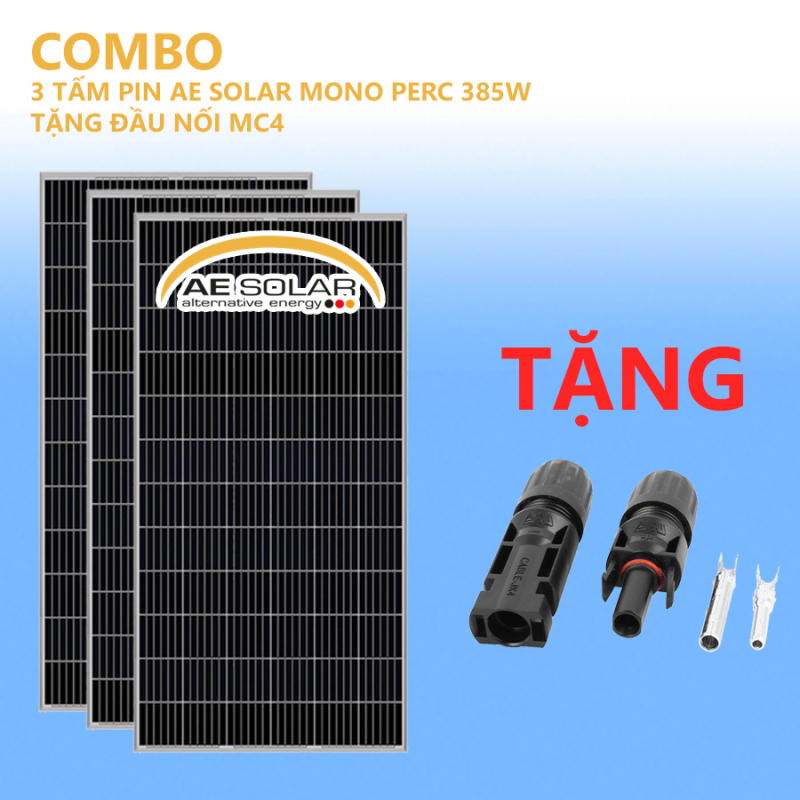 COMBO 3 TẤM PIN MONO PERC 385W AE SOLAR TẶNG ĐẦU NỐI MC4