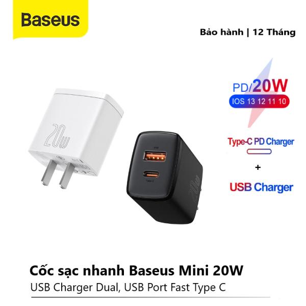 Củ sạc nhanh Baseus 2 cổng loại C/PD và USB 20W hỗ trợ sạc nhanh cho iPhone x, xsmax, 11/12 Promax ,..