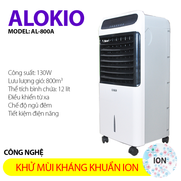 Máy làm lạnh mát không khí tiết kiệm điện kháng khuẩn ion Alokio AL800A có kèm 2 đá làm lành và bộ bánh xe đẩy tiện dụng