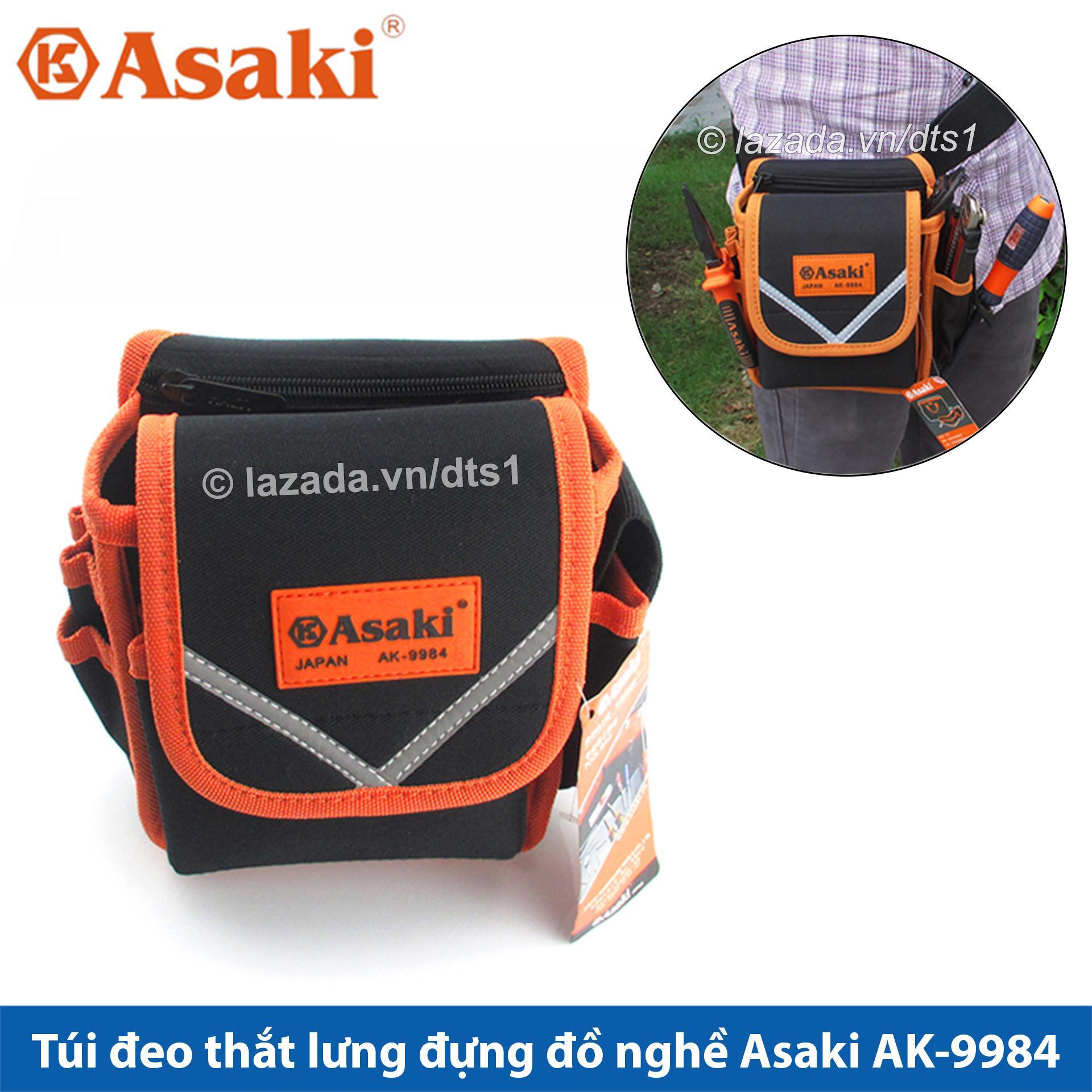 Túi đeo thắt lưng đựng đồ nghề sửa chữa cao cấp, chống thấm, chống đâm thủng, túi đồ nghề chuyên nghiệp Asaki AK-9984